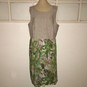 J.Jill Women's Sz L tropical print lined dress